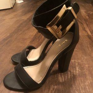 Bamboo Black Block Heels Snadals